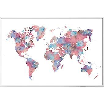JUNIQE Print - Wanderlust - Plakat z mapami świata w kolorze kolorowym & szarym