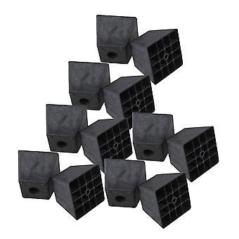 12PCS Black Plastic Trapezoid Couch Leg 98x98x80mm for Furniture Hardwre