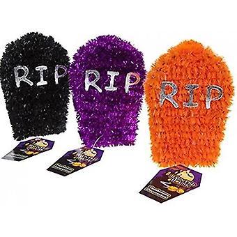 Tinsel Tombstone Halloween Decoration 3 levereras en av varje färg