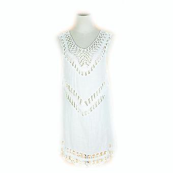 Embroidery Bikini Cover Up V Neck Hollow Out Suncreen Beachwear Kaftan