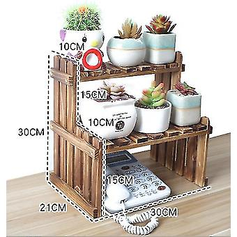 Solid Wood Desktop Flower Stand Office Window Sill Mini Storage Rack Potted Plant(30CM)