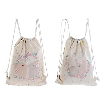 Backpack with Strings DKD Home Decor Rabbits Cotton (2 pcs) (28 x 0.5 x 36 cm)
