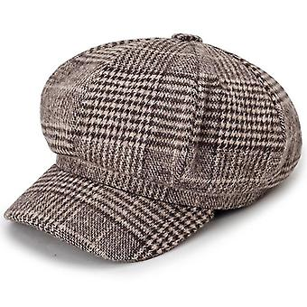 Otoño / invierno- Gorro de boina vintage, octogonal a cuadros, sombreros clásicos, mujeres (marrón)