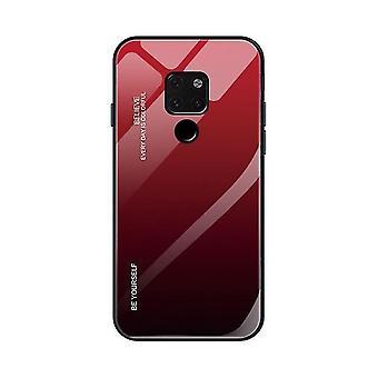 Huawei Mate 20 Pro Anti-Scratch Gradient Glass Case - Red & Black