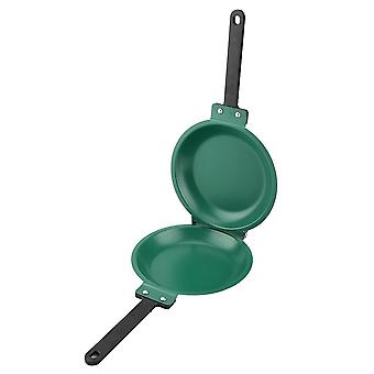 20cm Double Side Non Stick Ceramic Coating Double Face Flip Frying Pan Steak Pancake Maker(green)