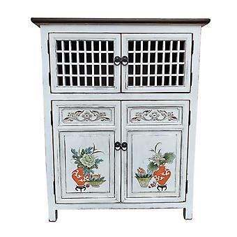Fine Asianliving kinesiske kabinet Hvid Håndmalede Detaljer W85xD45xH106cm