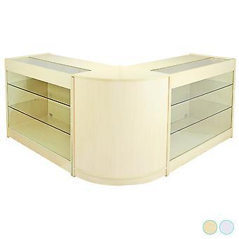 Winkel counter retail esdoorn planken opslag vitrinekast showcase glazen horizon