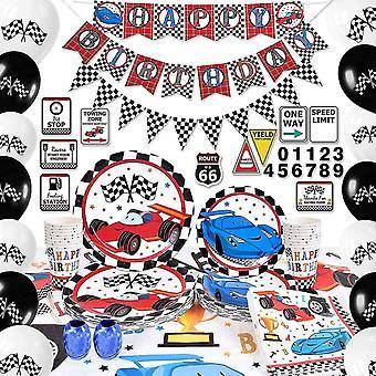 Party Games Racing Car Party Supplies Set - Fødselsdagsfest Dekorationer Boys Fødselsdag Banner Balloner