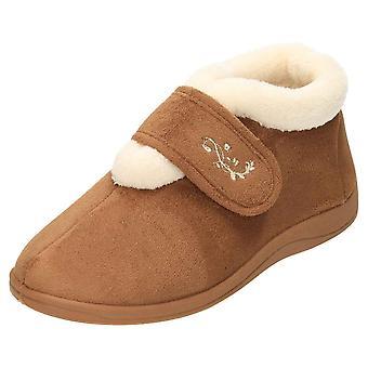 JWF Slipper Ankle Boots Warm Bootee Memory Foam Tan