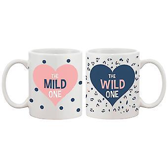 Cute Polka Dots und Leopard Print Kaffeebecher für beste Freunde - Mild ein und Wild eine beste Freundin - BFF Geschenk