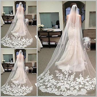 Long Veils Cheap Bridal Hair Chapel Length Lace Wedding Bridal Veils