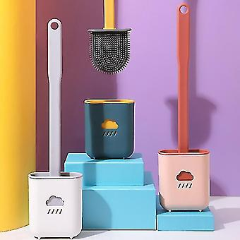 Bathroom accessory sets silicone toilet brush with holder creative household bathroom quick cleaning set crevice brush long