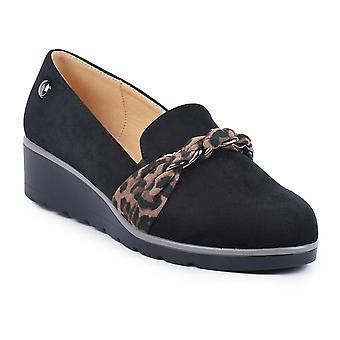 Lunar Kamila Zapato de Cuña Negra