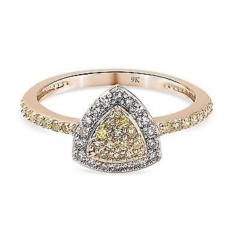 TJC Yellow Diamond I2-I3/ G-H Cluster Ring 9K Yellow Gold SGL Certified 0.5ct(R)