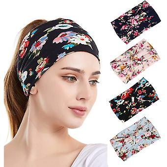4pcs Womens Wide Headband  Knotted Headwear Sports Daily Ladies And Girls Elastic Headband