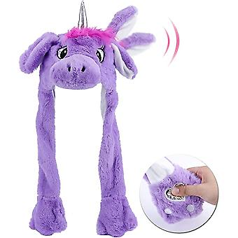 Animal Hat With Ears Moving Jumping Pop Up Beating Plush Dress Up