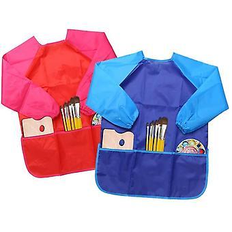 Lasten taideesiliinat, 2kpl vedenpitäviä lapsia maalaamassa esiliinaa taskuilla
