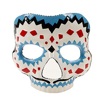 Day Of The Dead Red Yellow Mexican Skull Women Costume Female Half Mask