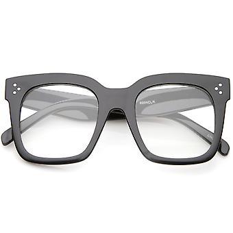 超大宽寺平透镜角边缘方形眼镜 51 毫米