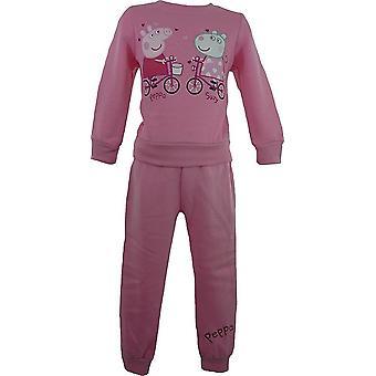Tytöt Pipsa possu verkkarit / lenkkeily puku laatikko vaaleanpunainen