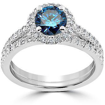 1 1/2 ct blå diamant Halo engasjement giftering sett 14k hvitt gull