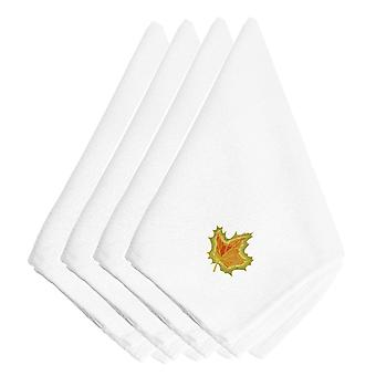 Fall Single Maple Leaf Embroidered Napkins Set of 4