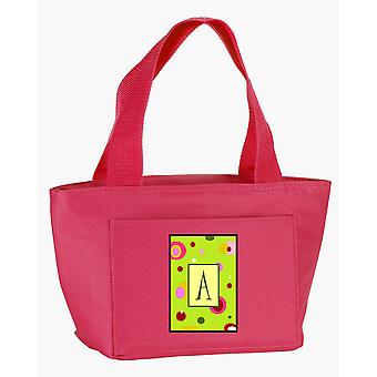 Letter A Monogram - Lime Green Zippered Insulated School Washable and Stylish Lu