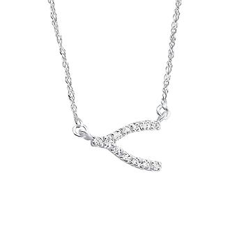 Wishbone - 925 Sterling Silver Jewelled Necklaces - W18474X