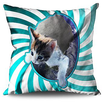 Kitten In Space Cute Linen Cushion 30cm x 30cm | Wellcoda