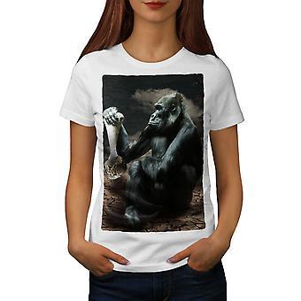 Monkey Desert Wild Animal Women WhiteT-shirt | Wellcoda