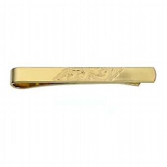 9ct Gold 6x55mm hand engraved centre Tie Slide