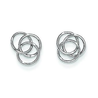 14k White Gold Polished Post Earrings Love Knot Earrings 3/8 Inch diameter Jewelry Gifts for Women