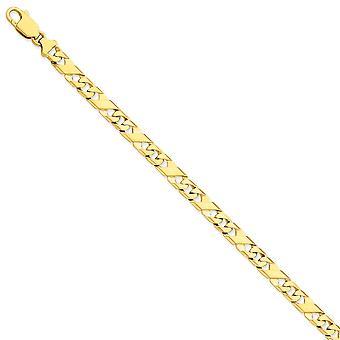 14k Gelb Gold 7mm handpoliert Fancy Kette Armband - Länge: 8 bis 9