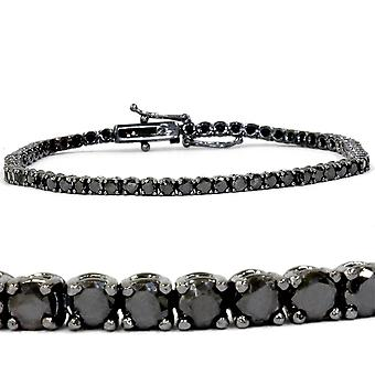 "4ct Black Diamond Tennis Bracelet 14K Black Gold 7"""