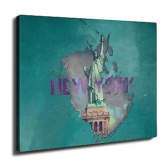 New York Freedom City USA Wall Art Canvas 40cm x 30cm | Wellcoda