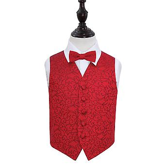 Burgundy Swirl Wedding Waistcoat & Bow Tie Set for Boys