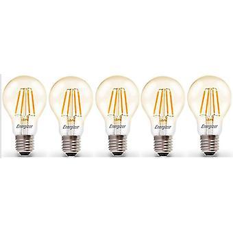 5 X Energizer LED E27 de Filament GLS ampoule lampe Vintage ES clair 4.2W = 40W E27 ES Cap [classe énergétique A +]