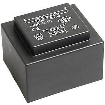PCB mount transformator 1 x 230 V 1 x 9 V AC 4,80 VA 266 mA PT421802 Gerth