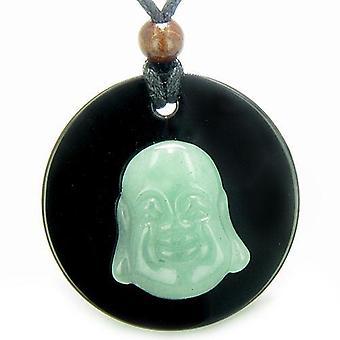 Amulet Happy Boeddha medaillon lachen in Zwarte Onyx groene Aventurine magische hanger ketting