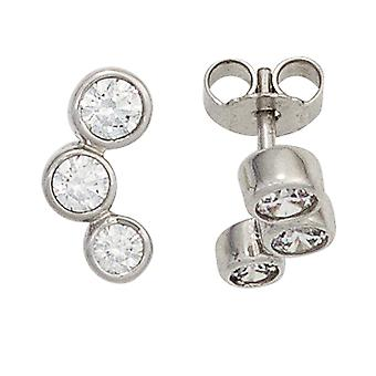 Ear connectors gold 375 Gold White Gold 6 cubic zirconia earrings gold