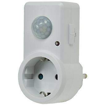 Enchufe adaptador con movimiento detector 120° 9 m gama 230V/1200W, blanco