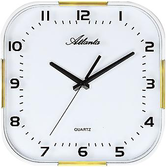 Atlanta 4455/9 wall clock quartz analog golden with white glass quietly without ticking