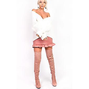 IKRUSH Womens Shari Faux Suede Frill Skirt