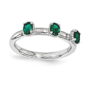 2.5mm 925 Sterling Silver Polished Prong set Rhodium plaqué Stackable Expressions Créé Emerald Three Stone Ring Jewel