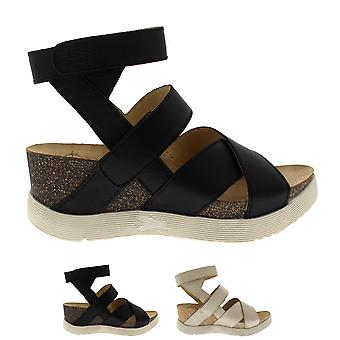 Womens Fly London Wedge Leather Open Toe Cut Out Summer Velcro Sandals