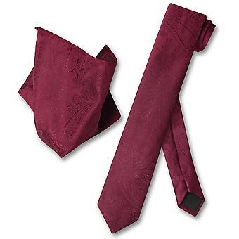 Vesuvio Napoli Skinny NeckTie Paisley Mens Neck Tie & Handkerchief