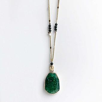 Bcharmd Green Sandstone Pendant Long Necklace
