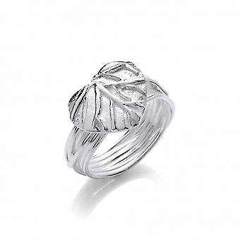 Cavendish francia ezüst Leaf Heart Ring