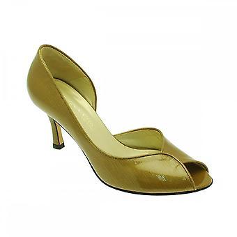 Sabrina Chic Peep Toe Side Out Mustard Patent
