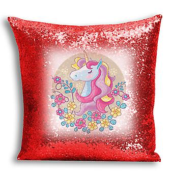 i-Tronixs - Unicorn Printed Design Red Sequin Cushion / Pillow Cover with Inserted Pillow for Home Decor - 5